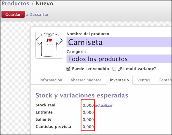 openerp7 product variant camiseta inventario