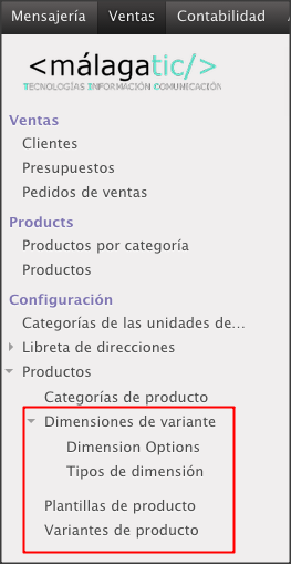 OpenERP7 product variant menus